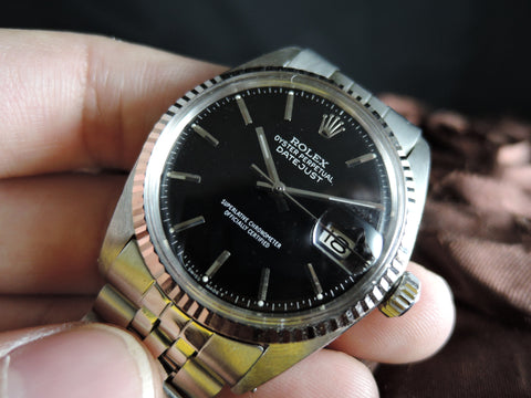 1958 Rolex DATEJUST 1601 Stainless Steel Glossy Black Dial