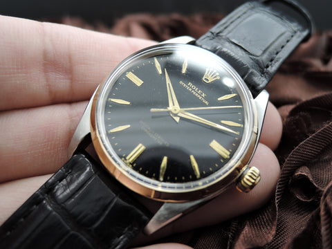 1955 Rolex OYSTER PERPETUAL 6565 Original Gilt Dial with Dauphine Hands