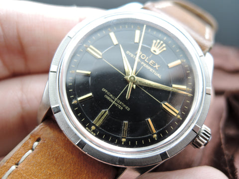 1957 Rolex OYSTER PERPETUAL 6567 Original Bullseye Gilt Dial with Dauphine Hands
