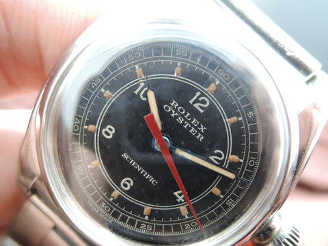 1938 Rolex OYSTER SCIENTIFIC 2765 Black Dial Blue Pencil Hands and Red Second Hand