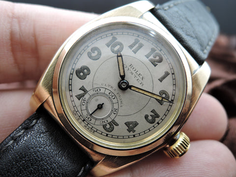 1935 Rolex OYSTER 18K Yellow Gold Big Arabic Numerals with Sub-Seconds