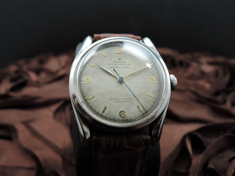 "1948 Rolex BUBBLEBACK BOMBE 5018 with Explorer Dial Signed ""Serpico Y Laino"""