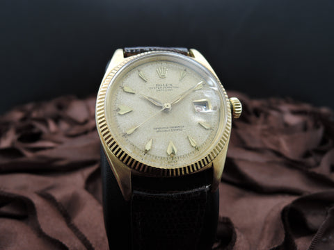 1959 Rolex DATEJUST 6605 18K Yellow Gold with Tropical Dial