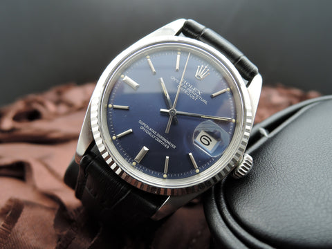 1973 Rolex DATEJUST 1601 Stainless Steel Original Glossy Blue SIGMA Dial
