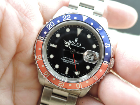 1999 Rolex GMT MASTER 16700 Pepsi Red/Blue Bezel Full Set