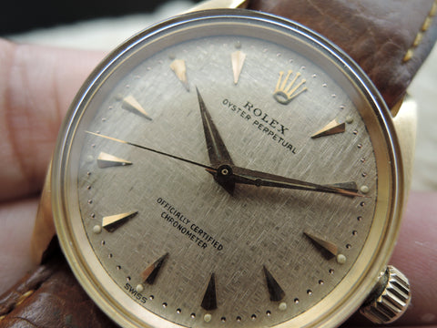 1958 Rolex OYSTER PERPETUAL 6565 18K ROSE GOLD Original RG Texture Dial