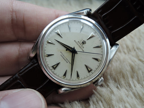 1948 Rolex BUBBLEBACK BOMBE 5018 with Creamy Dial