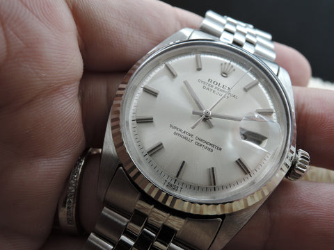 1970 Rolex DATEJUST 1601 SS with Original Silver NO LUME Dial