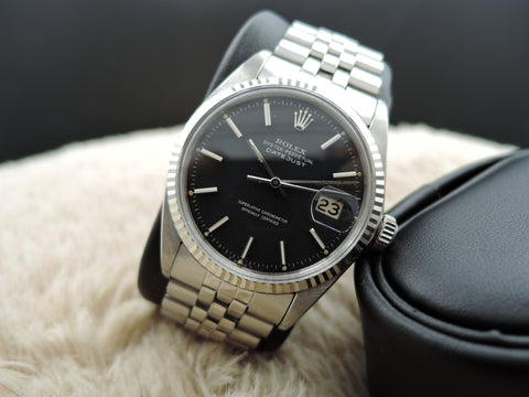 1964 Rolex DATEJUST 1601 Stainless Steel ORIGINAL Matt Black Dial