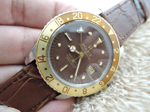 1970 Rolex GMT MASTER 2-Tone 1675 Chocolate Nipple Dial with Papers