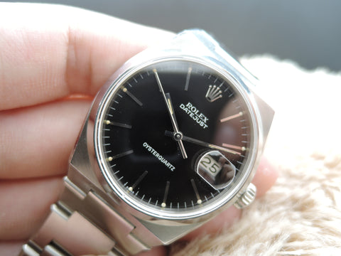 1977 Rolex OYSTERQUARTZ DATEJUST 17000 Original Black Single Line Dial