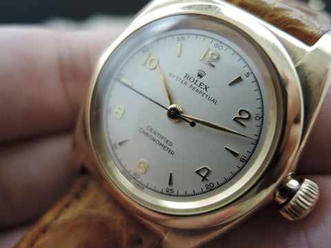 1946 Rolex BUBBLEBACK 3131 14K Yellow Gold with White Arabic Dial
