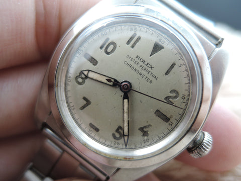 1945 Rolex BUBBLEBACK 2940 with Blue Pencil Hands and Red Second Hand