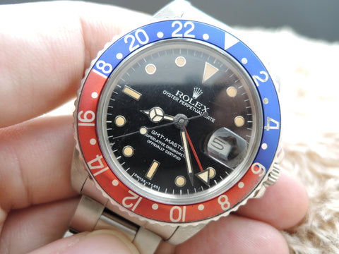 1986 Rolex GMT MASTER 16750 Pepsi Yellowish Patina with Box and Paper