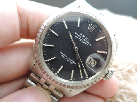 1966 Rolex DATEJUST 1603 Stainless Steel Original Matt Black Dial with Paper