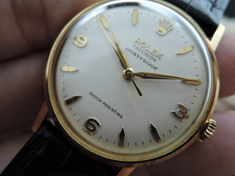 "1963 Rolex Precision 9708 18K with Original Explorer ""DUSTPROOF"" Dial and Paper"