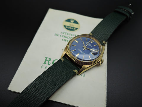 1968 Rolex DATEJUST 1601 18K YG with Original Blue Texture Dial and Paper
