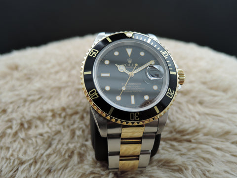 1993 Rolex SUBMARINER 16613 2-Tone Black Dial with Black Bezel
