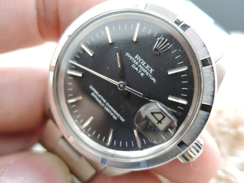 1970 Rolex OYSTER DATE 1501 Original Matt Black SIGMA Dial with Solid Oyster Band