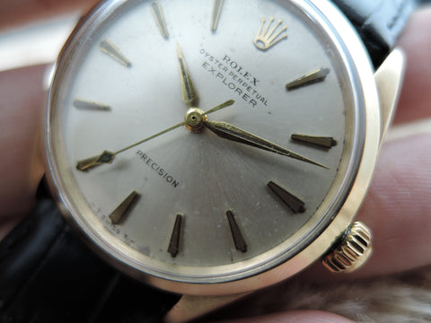 1963 Rolex AIR KING 18K YG EXPLORER 5500 Original Silver Dial Super RARE