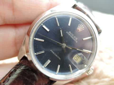 1969 Rolex OYSTER DATE 6694 Original Glossy Blue Dial