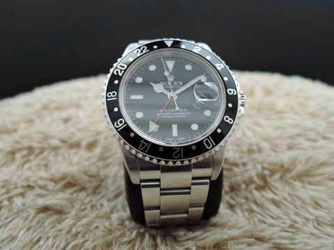 2004 Rolex GMT MASTER 2 16710 Black Bezel with BOX and PAPER