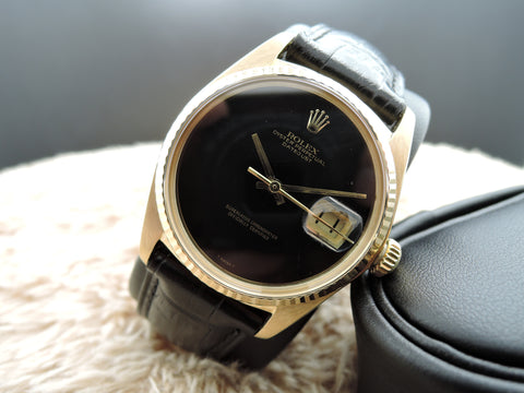 1977 Rolex DATEJUST 1601 18K YG with Original Onyx Dial with RSC Paper