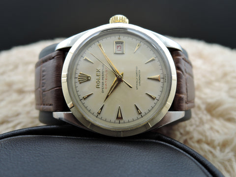 1953 Rolex DATEJUST 6305 2-Tone Ovettone Bubbleback RED Datejust
