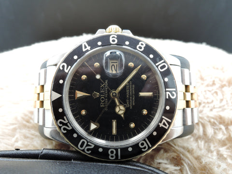 1971 Rolex GMT MASTER 2-Tone 1675 Black Nipple Dial with 2-Tone Bracelet