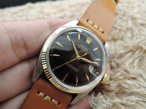 1960 Rolex DATEJUST 1601 2-Tone Gilt Tropical Dial with Dauphine Hands