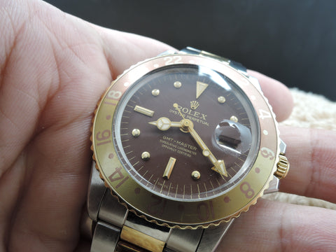 1975 Rolex GMT MASTER 2-Tone 1675 Chocolate Nipple Dial with Box and Paper
