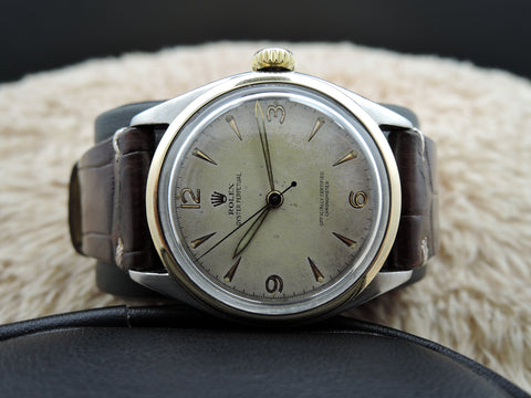 1952 Rolex OYSTER PERPETUAL 6085 Semi-Bubbleback with 3-6-9-12 Dial