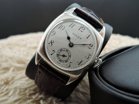 1928 Rolex Vintage Sterling Silver Tonneau Case with Engine Turned Dial