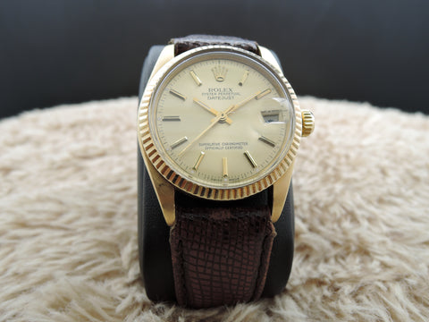 1979 Rolex DATEJUST 6827 Boy Size 18K Yellow Gold ORIGINAL Gold Dial