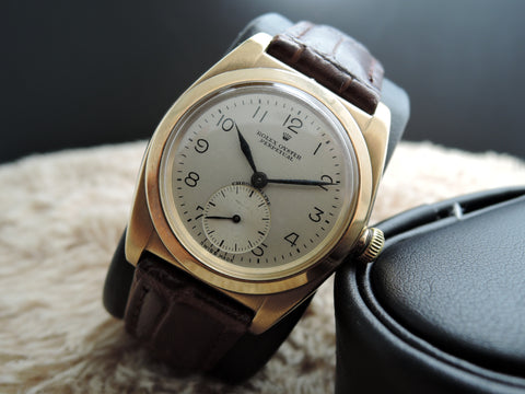 1947 Rolex BUBBLEBACK 3130 14K Pink Gold with White Arabic Numeral Dial