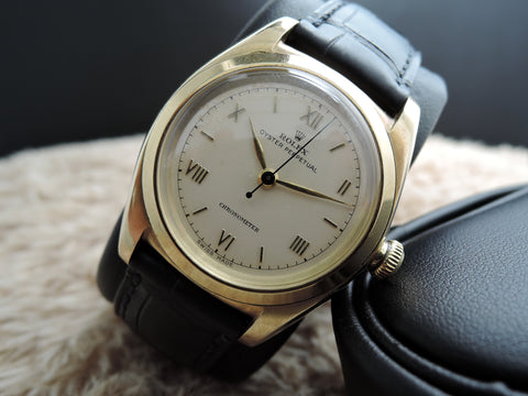 1945 Rolex BUBBLEBACK 3131 18K YG with White Roman Numeral Dial