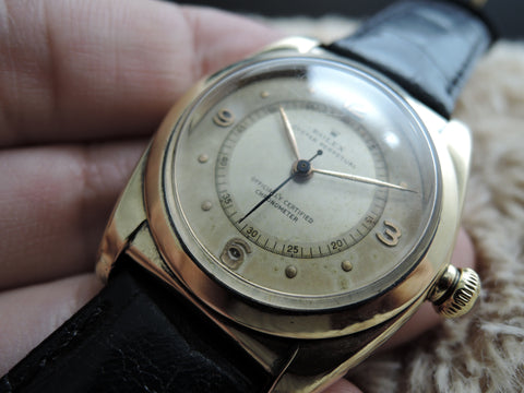 1945 Rolex BUBBLEBACK 3131 9K Yellow Gold with 2-Tone Dial