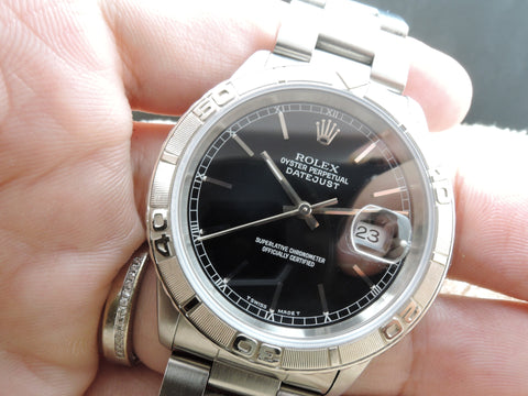 1998 Rolex DATEJUST TURN-O-GRAPH 16264 ORIGINAL Black Dial with Paper