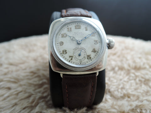 1940 Rolex 1072 Cushion Case with Yellowish Arabic Dial and Sub Seconds