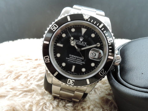 2001 Rolex SUBMARINER 16610 Black Dial Black Bezel Full Set