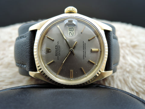 1972 Rolex DATEJUST 1601 18K YG with Original Grey Dial