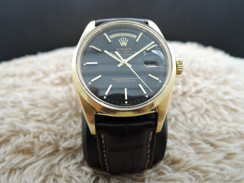 1967 Rolex DAY-DATE 1802 (not 1803) 18K Gold with Original Black Dial & RSC Paper