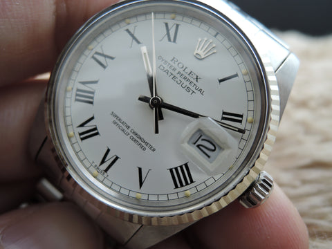 1981 Rolex DATEJUST 16014 Stainless Steel Original White Buckley Dial