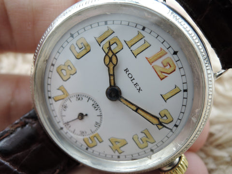 1914 Rolex Vintage OFFICER with Original Enamel White Dial with Arabic Numerals (BIG SIZE)