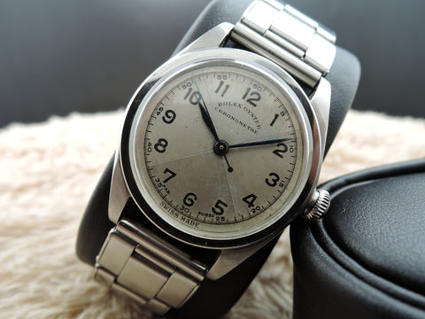 1938 Rolex Oyster with Silver Art Deco Quartered Dial and Rivet Bracelet