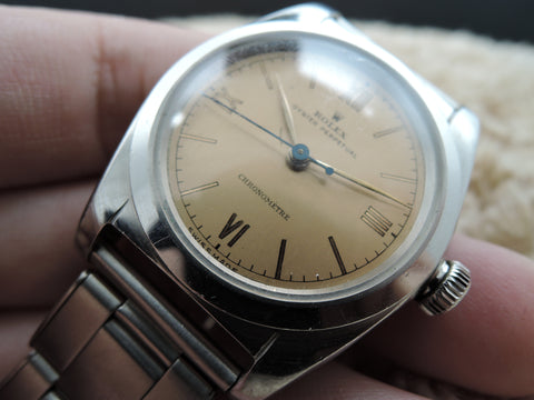 1941 Rolex BUBBLEBACK 2940 with Bronze Dial with 3-6-9-12 Roman Dial