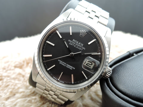 1968 Rolex DATEJUST 1603 Stainless Steel ORIGINAL Matt Black Dial with RSC Paper