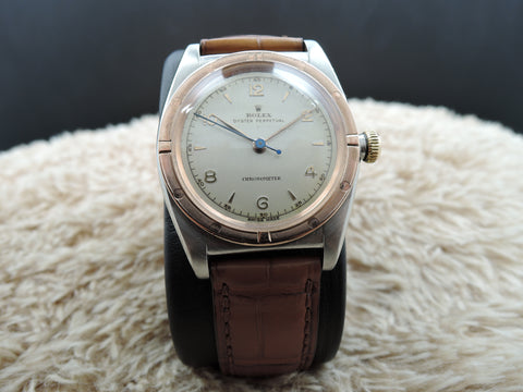 1945 Rolex BUBBLEBACK 3372 with Pink Gold Bezel and Arabic Numerals