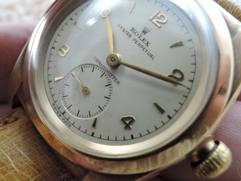 1947 Rolex BUBBLEBACK 3130 14K Pink Gold with Creamy Arabic Numeral Dial