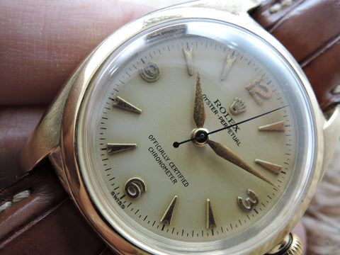 1947 Rolex BUBBLEBACK 3131 14K YG with Non-Lum 3-6-9-12 Explorer Dial